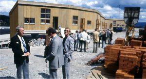 Befaring under byggingen av Hallagerbakken borettslag i 1982.